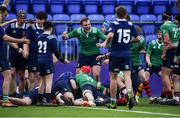 2 January 2020; Grant Palmer of South East Area celebrates his side's third try scored by Jamie Tobin during the Shane Horgan Cup Round 3 match between North Midlands Area and South East Area at Energia Park in Donnybrook, Dublin. Photo by David Fitzgerald/Sportsfile