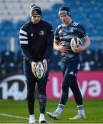 3 January 2020; Harry Byrne, left, and Ciarán Frawley during a Leinster Rugby captain's run at the RDS Arena in Dublin. Photo by Seb Daly/Sportsfile