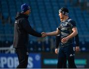 3 January 2020; Ciarán Frawley, right, shakes hands with head coach Leo Cullen during a Leinster Rugby captain's run at the RDS Arena in Dublin. Photo by Seb Daly/Sportsfile