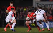 3 January 2020; Joey Carbery of Munster in action against Billy Burns, left, and Stuart McCloskey of Ulster during the Guinness PRO14 Round 10 match between Ulster and Munster at Kingspan Stadium in Belfast. Photo by Ramsey Cardy/Sportsfile