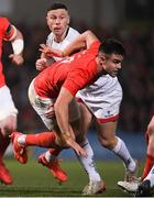 3 January 2020; Conor Murray of Munster and John Cooney of Ulster during the Guinness PRO14 Round 10 match between Ulster and Munster at Kingspan Stadium in Belfast. Photo by Ramsey Cardy/Sportsfile