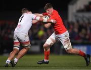 3 January 2020; Jack O'Donoghue of Munster is tackled by Sean Reidy of Ulster during the Guinness PRO14 Round 10 match between Ulster and Munster at Kingspan Stadium in Belfast. Photo by Ramsey Cardy/Sportsfile
