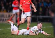3 January 2020; John Cooney of Ulster scores his side's first try during the Guinness PRO14 Round 10 match between Ulster and Munster at Kingspan Stadium in Belfast. Photo by Harry Murphy/Sportsfile