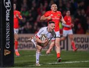 3 January 2020; John Cooney of Ulster goes over to score his side's first try during the Guinness PRO14 Round 10 match between Ulster and Munster at Kingspan Stadium in Belfast. Photo by Harry Murphy/Sportsfile