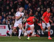 3 January 2020; John Cooney of Ulster on his way to scoring his side's first try during the Guinness PRO14 Round 10 match between Ulster and Munster at Kingspan Stadium in Belfast. Photo by Harry Murphy/Sportsfile