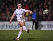 3 January 2020; John Cooney of Ulster kicks a conversion during the Guinness PRO14 Round 10 match between Ulster and Munster at Kingspan Stadium in Belfast. Photo by Harry Murphy/Sportsfile