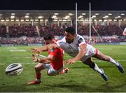 3 January 2020; Shane Daly of Munster in action against Robert Baloucoune of Ulster during the Guinness PRO14 Round 10 match between Ulster and Munster at Kingspan Stadium in Belfast. Photo by Harry Murphy/Sportsfile