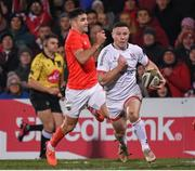 3 January 2020; John Cooney of Ulster in action against Conor Murray of Munster during the Guinness PRO14 Round 10 match between Ulster and Munster at Kingspan Stadium in Belfast. Photo by Harry Murphy/Sportsfile