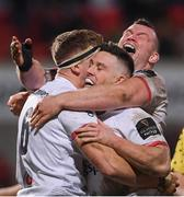 3 January 2020; Matty Rea, 6, celebrates with Ulster team-mates John Cooney, centre, and Jack McGrath after scoring his side's fourth try during the Guinness PRO14 Round 10 match between Ulster and Munster at Kingspan Stadium in Belfast. Photo by Ramsey Cardy/Sportsfile