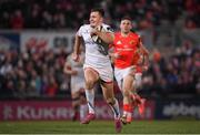 3 January 2020; Jacob Stockdale of Ulster on his way to scoring his side's sixth try during the Guinness PRO14 Round 10 match between Ulster and Munster at Kingspan Stadium in Belfast. Photo by Ramsey Cardy/Sportsfile