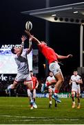 3 January 2020; Dan Goggin of Munster in action against Craig Gilroy of Ulster during the Guinness PRO14 Round 10 match between Ulster and Munster at Kingspan Stadium in Belfast. Photo by Harry Murphy/Sportsfile