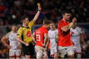 3 January 2020; Chris Cloete of Munster receives a yellow card from referee Daniel Jones during the Guinness PRO14 Round 10 match between Ulster and Munster at Kingspan Stadium in Belfast. Photo by Ramsey Cardy/Sportsfile