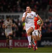 3 January 2020; Jacob Stockdale of Ulster on his way to scoring a try during the Guinness PRO14 Round 10 match between Ulster and Munster at Kingspan Stadium in Belfast. Photo by Ramsey Cardy/Sportsfile