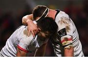 3 January 2020; Jacob Stockdale of Ulster celebrates with Rob Herring, right, after scoring a try during the Guinness PRO14 Round 10 match between Ulster and Munster at Kingspan Stadium in Belfast. Photo by Ramsey Cardy/Sportsfile
