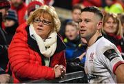 3 January 2020; John Cooney of Ulster with his mother Liguori following the Guinness PRO14 Round 10 match between Ulster and Munster at Kingspan Stadium in Belfast. Photo by Ramsey Cardy/Sportsfile
