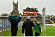 4 January 2020; Nemo Rangers selector Harry Cripps is interviewed by Briain Tyres of TG4 prior to the AIB GAA Football All-Ireland Senior Club Championship semi-final match between Corofin and Nemo Rangers at Cusack Park in Ennis, Clare. Photo by Brendan Moran/Sportsfile