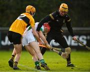 4 January 2020; Tommy Walsh of Tullaroan is tackled by Niall O'Connor, left, and Martin Curran of Naomh Éanna during the AIB GAA Hurling All-Ireland Intermediate Club Championship semi-final match between Tullaroan and Naomh Éanna at Parnell Park in Dublin. Photo by Eóin Noonan/Sportsfile
