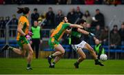 4 January 2020; Stephen Cronin of Nemo Rangers in action against Dylan McHugh of Corofin during the AIB GAA Football All-Ireland Senior Club Championship semi-final match between Corofin and Nemo Rangers at Cusack Park in Ennis, Clare. Photo by Brendan Moran/Sportsfile