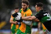 4 January 2020; Micheál Lundy of Corofin in action against Kieran Histon of Nemo Rangers during the AIB GAA Football All-Ireland Senior Club Championship semi-final match between Corofin and Nemo Rangers at Cusack Park in Ennis, Clare. Photo by Brendan Moran/Sportsfile
