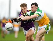 4 January 2020; Jordan Hayes of Offaly in action against Ronan Devereux of Wexford during the 2020 O'Byrne Cup Round 2 match between Offaly and Wexford at Faithful Fields in Kilcormac, Offaly. Photo by Matt Browne/Sportsfile