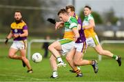 4 January 2020; Cian Johnson of Offaly scores his side's first goal during the 2020 O'Byrne Cup Round 2 match between Offaly and Wexford at Faithful Fields in Kilcormac, Offaly. Photo by Matt Browne/Sportsfile