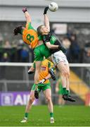 4 January 2020; James McDermott of Nemo Rangers and Kieran Molloy of Corofin contest a high ball during the AIB GAA Football All-Ireland Senior Club Championship semi-final match between Corofin and Nemo Rangers at Cusack Park in Ennis, Clare. Photo by Brendan Moran/Sportsfile