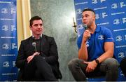 4 January 2020; Leinster player Adam Byrne, right, and Leinster Rugby Academy Manager Noel McNamara during the Leinster Junior Rugby lunch at the Intercontinental Hotel in Ballsbridge, Dublin. This is the third year that the lunch has been held in celebration of Junior Club Rugby in Leinster. Photo by Ramsey Cardy/Sportsfile