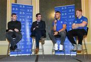 4 January 2020; MC Philip Lawlor, Former Leinster and Ireland player Gordon D'Arcy, Leinster Rugby Academy Manager Noel McNamara, and Leinster players Adam Byrne and James Tracy during the Leinster Junior Rugby lunch at the Intercontinental Hotel in Ballsbridge, Dublin. This is the third year that the lunch has been held in celebration of Junior Club Rugby in Leinster. Photo by Ramsey Cardy/Sportsfile
