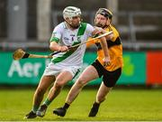 4 January 2020; Pádraig Walsh of Tullaroan in action against Cormac Jennings of Naomh Éanna during the AIB GAA Hurling All-Ireland Intermediate Club Championship semi-final match between Tullaroan and Naomh Éanna at Parnell Park in Dublin. Photo by Eóin Noonan/Sportsfile