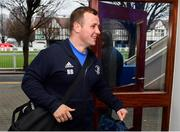 4 January 2020; Bryan Byrne of Leinster arrives prior to the Guinness PRO14 Round 10 match between Leinster and Connacht at the RDS Arena in Dublin. Photo by Sam Barnes/Sportsfile
