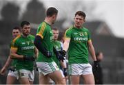 4 January 2020; Oisín O'Brien, right, and Barry Dardis of Meath following the 2020 O'Byrne Cup Round 2 match between Meath and Laois at Pairc Tailteann in Navan, Meath. Photo by Harry Murphy/Sportsfile