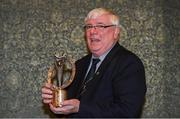 4 January 2020; The Sean O'Brien Hall of Fame Award winner Seamie Briscoe, Boyne RFC, with his award during the Leinster Junior Rugby lunch at the Intercontinental Hotel, Ballsbridge. This is the third year that the lunch has been held in celebration of Junior Club Rugby in Leinster. Seamie has been involved with Boyne RFC since the early 70's. His outstanding contribution to Boyne RFC and the North East area, in particular, Youths rugby have been recognised today as the third recipient of the Sean O'Brien Hall of Fame award for 2020.  Photo by Ramsey Cardy/Sportsfile