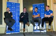 4 January 2020; Former Leinster and Ireland player Gordon D'Arcy, Leinster Rugby Academy Manager Noel McNamara, and Leinster players Adam Byrne and James Tracy during the Leinster Junior Rugby lunch at the Intercontinental Hotel in Ballsbridge, Dublin. This is the third year that the lunch has been held in celebration of Junior Club Rugby in Leinster. Photo by Ramsey Cardy/Sportsfile