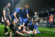 4 January 2020; Dave Kearney of Leinster celebrates with team-mates after scoring his side's second try during the Guinness PRO14 Round 10 match between Leinster and Connacht at the RDS Arena in Dublin. Photo by Ramsey Cardy/Sportsfile