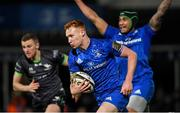 4 January 2020; Ciarán Frawley of Leinster on his way to scoring his side's third try during the Guinness PRO14 Round 10 match between Leinster and Connacht at the RDS Arena in Dublin. Photo by Ramsey Cardy/Sportsfile