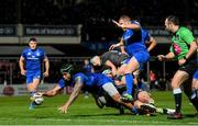 4 January 2020; Joe Tomane of Leinster dives over to score his side's fourth try during the Guinness PRO14 Round 10 match between Leinster and Connacht at the RDS Arena in Dublin. Photo by Ramsey Cardy/Sportsfile