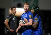 4 January 2020; Ciarán Frawley, left, celebrates with Leinster team-mate Joe Tomane after scoring his side's third try during the Guinness PRO14 Round 10 match between Leinster and Connacht at the RDS Arena in Dublin. Photo by Ramsey Cardy/Sportsfile