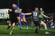 4 January 2020; Dave Kearney of Leinster is tackled by Caolin Blade, left, and Conor Fitzgerald of Connacht during the Guinness PRO14 Round 10 match between Leinster and Connacht at the RDS Arena in Dublin. Photo by Ramsey Cardy/Sportsfile