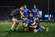 4 January 2020; Dave Kearney of Leinster is tackled by John Porch, left, Tiernan O'Halloran, centre, and Caolin Blade of Connacht during the Guinness PRO14 Round 10 match between Leinster and Connacht at the RDS Arena in Dublin. Photo by Ramsey Cardy/Sportsfile