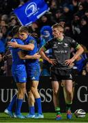 4 January 2020; Garry Ringrose of Leinster, centre, is congratulated by team-mate Dave Kearney after scoring his side's seventh try during the Guinness PRO14 Round 10 match between Leinster and Connacht at the RDS Arena in Dublin. Photo by Seb Daly/Sportsfile