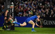 4 January 2020; Garry Ringrose of Leinster dives over to score his side's seventh try during the Guinness PRO14 Round 10 match between Leinster and Connacht at the RDS Arena in Dublin. Photo by Seb Daly/Sportsfile