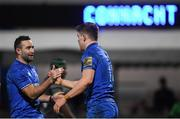 4 January 2020; Garry Ringrose, right, celebrates with Leinster team-mate Dave Kearney after scoring his side's seventh try during the Guinness PRO14 Round 10 match between Leinster and Connacht at the RDS Arena in Dublin. Photo by Ramsey Cardy/Sportsfile