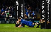 4 January 2020; Garry Ringrose of Leinster dives over to score his side's seventh try during the Guinness PRO14 Round 10 match between Leinster and Connacht at the RDS Arena in Dublin. Photo by Sam Barnes/Sportsfile