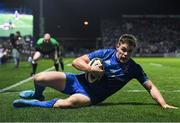 4 January 2020; Garry Ringrose of Leinster scores his side's eighth try during the Guinness PRO14 Round 10 match between Leinster and Connacht at the RDS Arena in Dublin. Photo by Ramsey Cardy/Sportsfile