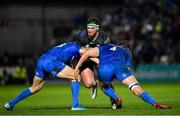 4 January 2020; Tom Daly of Connacht is tackled by Garry Ringrose, left, and Ross Molony of Leinster during the Guinness PRO14 Round 10 match between Leinster and Connacht at the RDS Arena in Dublin. Photo by Seb Daly/Sportsfile