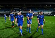 4 January 2020; Ed Byrne, left, Max Deegan, centre, and Bryan Byrne of Leinster following the Guinness PRO14 Round 10 match between Leinster and Connacht at the RDS Arena in Dublin. Photo by Ramsey Cardy/Sportsfile