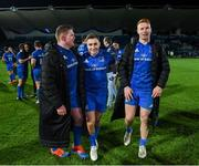 4 January 2020; Tadhg Furlong, left, Jordan Larmour, centre, and Ciarán Frawley of Leinster following the Guinness PRO14 Round 10 match between Leinster and Connacht at the RDS Arena in Dublin. Photo by Ramsey Cardy/Sportsfile