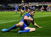 4 January 2020; Garry Ringrose of Leinster scores his side's eighth try during the Guinness PRO14 Round 10 match between Leinster and Connacht at the RDS Arena in Dublin. Photo by Seb Daly/Sportsfile