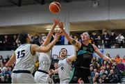 4 January 2020; Kieran Donaghy of Garvey's Warriors Tralee in action against DBS Eanna players, from left, Marko Tomic, Mark Ryenolds and Neil Lynch during the Basketball Ireland Men's Superleague match between Garveys Warriors Tralee and DBS Eanna at Tralee Sports Complex in Tralee, Kerry. Photo by Brendan Moran/Sportsfile