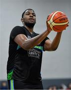 4 January 2020; Andre Berry of Garvey's Warriors Tralee during the Basketball Ireland Men's Superleague match between Garveys Warriors Tralee and DBS Eanna at Tralee Sports Complex in Tralee, Kerry. Photo by Brendan Moran/Sportsfile